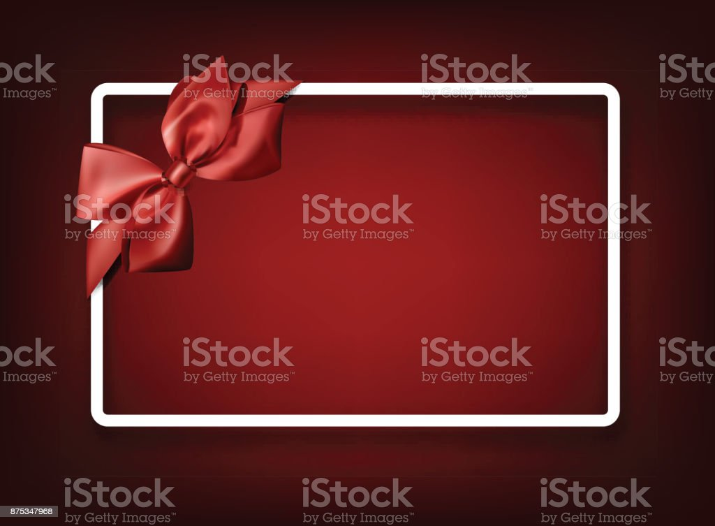 Red festive background with red bow. vector art illustration