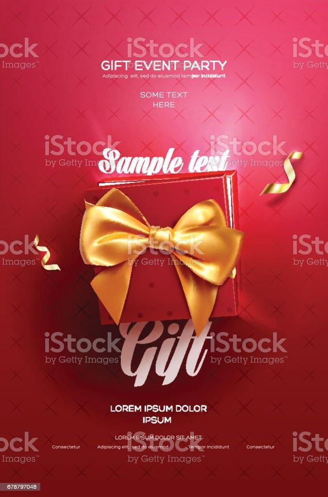 Flyer rouge festif ou une affiche. Vue de dessus sur le coffret et l'arc avec une magnifique toile de fond flyer rouge festif ou une affiche vue de dessus sur le coffret et larc avec une magnifique toile de fond – cliparts vectoriels et plus d'images de affiche libre de droits