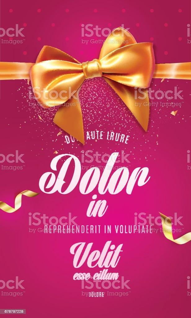Carte de voeux rouge festif ou une affichette avec un arc et ruban carte de voeux rouge festif ou une affichette avec un arc et ruban – cliparts vectoriels et plus d'images de affiche libre de droits