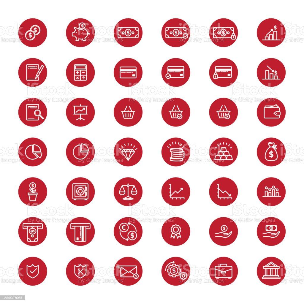 Kırmızı Finans ve bankacılık lineart düğmeleri vektör sanat illüstrasyonu