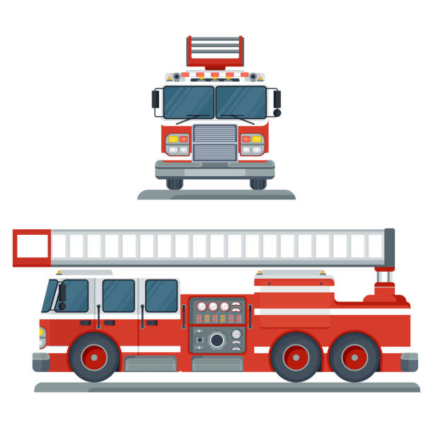 red fire engine vector art illustration