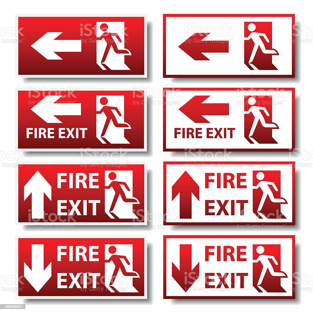 Red fire exit sign stock vector art more images of adult 498398921 red fire exit sign royalty free red fire exit sign stock vector art amp buycottarizona Images