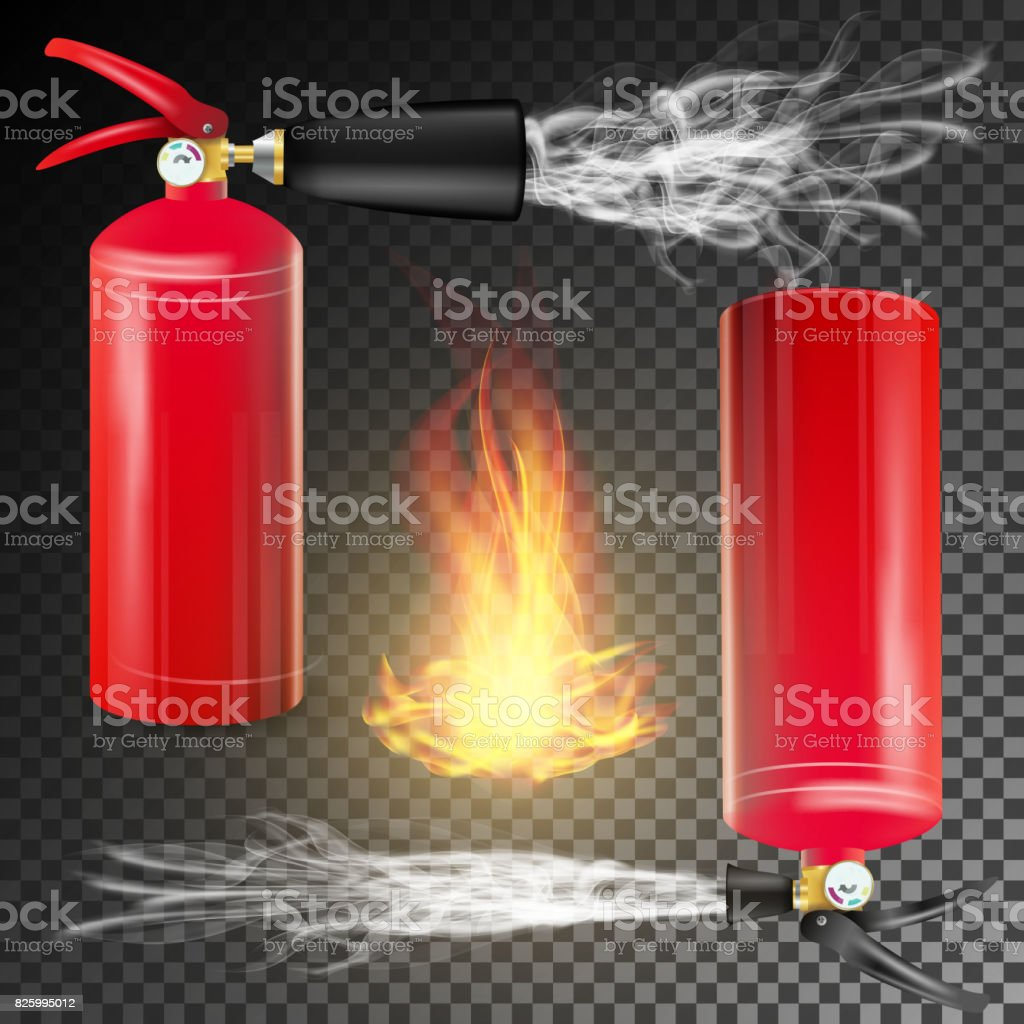 Red Fire Extinguisher Vector. Fire Flame Sign And Metal Red Fire Extinguisher. Transparent Background vector art illustration
