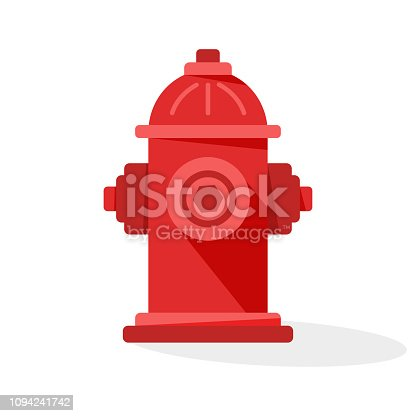 Red fire hydrant icon with shadow. Vector illustration