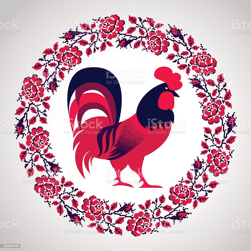 Red fire rooster as symbol of 2017 vector art illustration