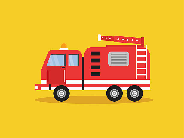 red fire truck with white stripes vector illustration red fire truck with white stripes vector illustration fire engine stock illustrations