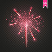 Red Firework lights effect with glowing stars in sky isolated on transparent background. Vector white festive party rocket burst or salute show for your design. eps 10