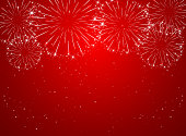 Stars and shiny fireworks on red background, illustration.