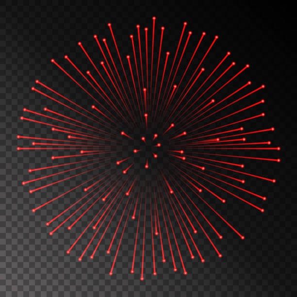 Red fireworks on chess style transparent background. Vector illustration vector art illustration
