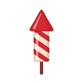 Red fireworks rocket icon in flat style.