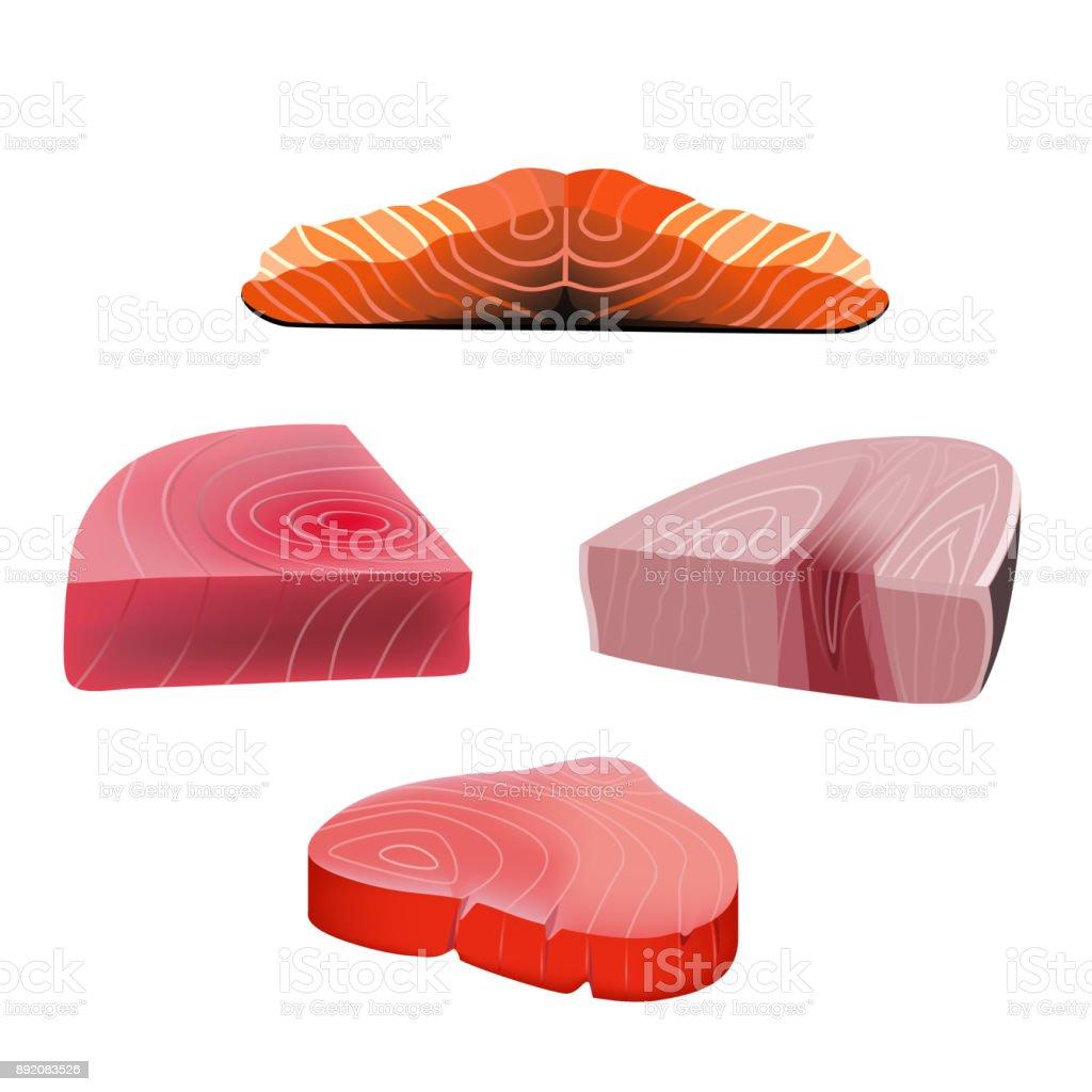 Red fish slices vector art illustration