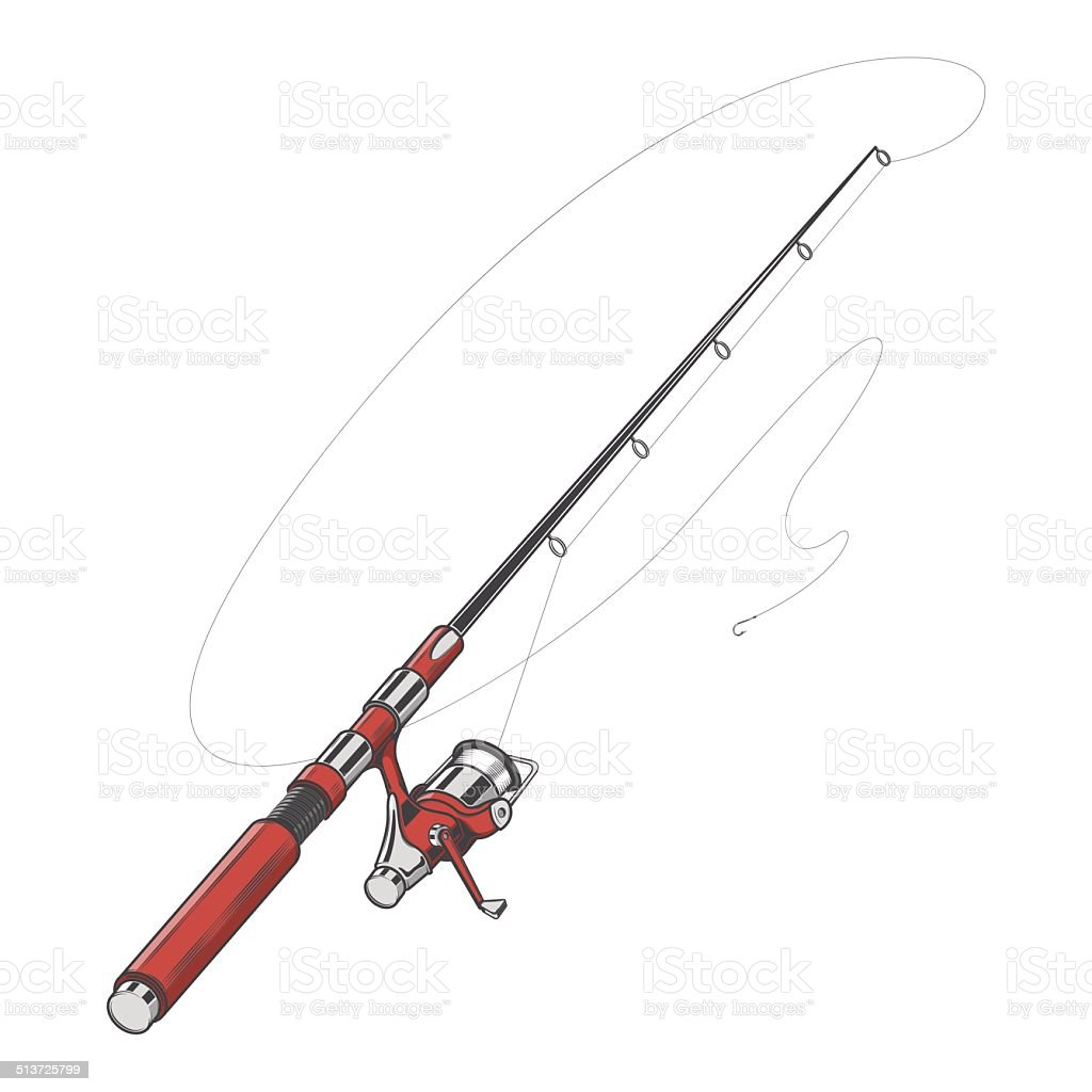 Red Fishing Rod vector art illustration