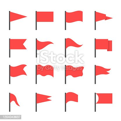 Red flags. Red flag icon set, start and finish symbols