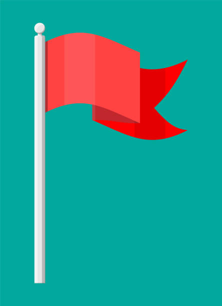 Red flag on metal flagpole template. Red flag on metal flagpole template. Clean horizontal waving flag. Vector illustration in flat style flagpole stock illustrations