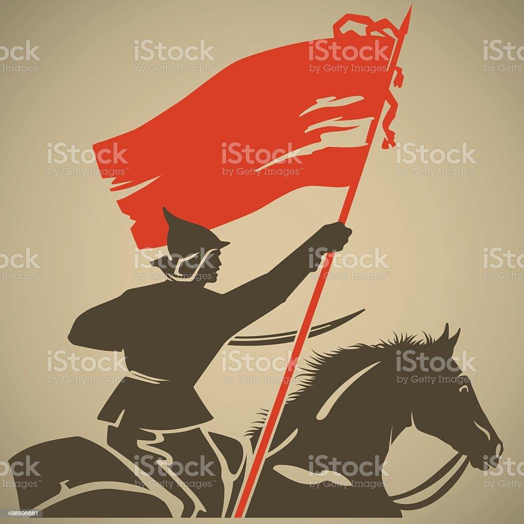 Red flag vector art illustration