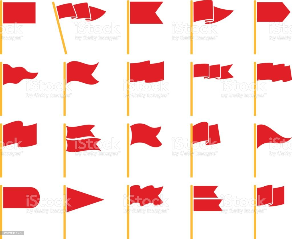 Red flags on yellow staves icons vector art illustration