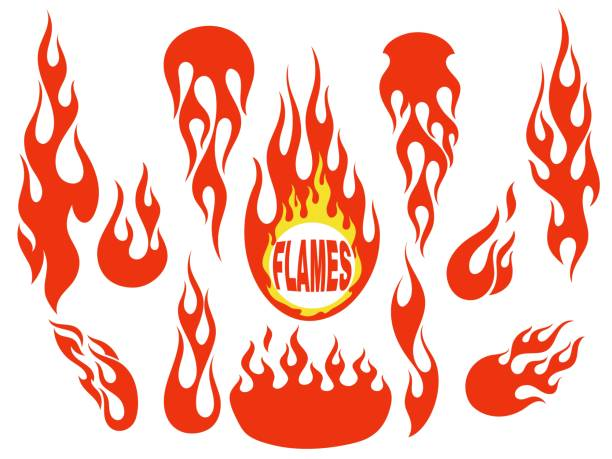 red flame elements set - fire tattoos stock illustrations, clip art, cartoons, & icons
