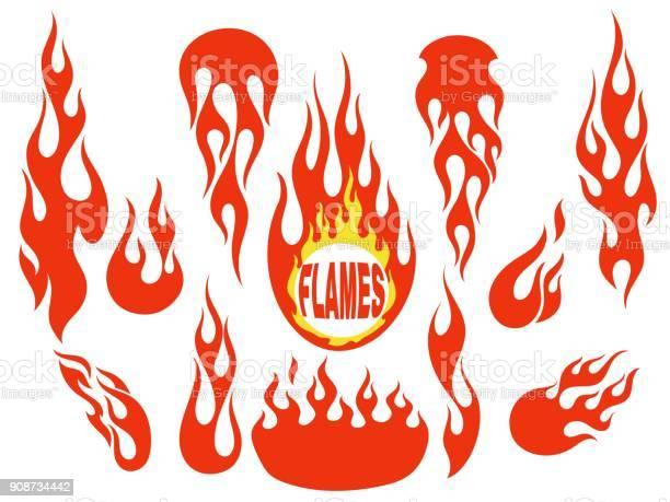 Ensemble Déléments Rouge Flamme Vecteurs libres de droits et plus d'images vectorielles de Abstrait