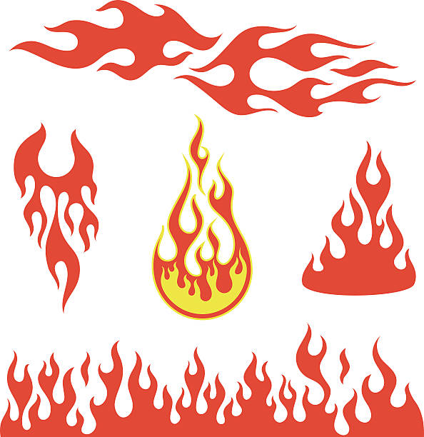 red flame elements - fire tattoos stock illustrations, clip art, cartoons, & icons