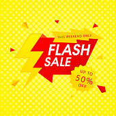 Red Flash Sale Up To 50% Off Yellow Background Vector Image