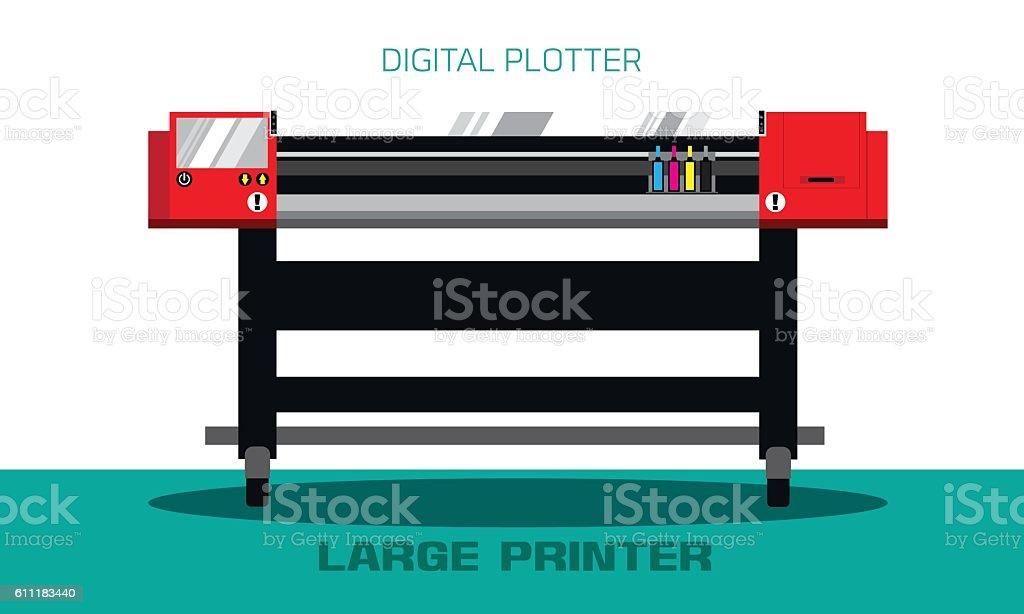 Red flat large printer vector art illustration