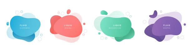 stockillustraties, clipart, cartoons en iconen met rode platte vorm en groene vloeistof blob, blauwe vloeibare vlek en violet geometrische vorm. set van geïsoleerde abstracte aqua vlek met gradiënt of dynamische kleur. achtergrond voor kaart of sjabloonontwerp voor flyer. - vorm