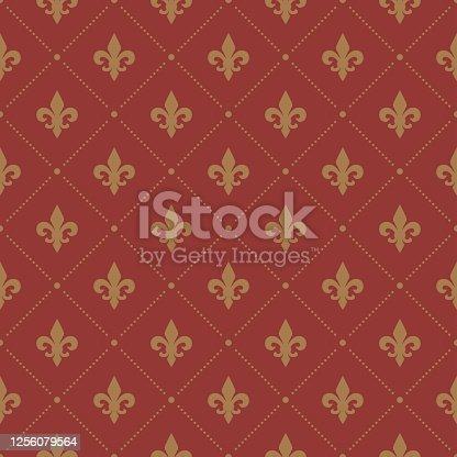 istock Red Fleur De Lis luxury pattern. Royal ornamental seamless background. 1256079564