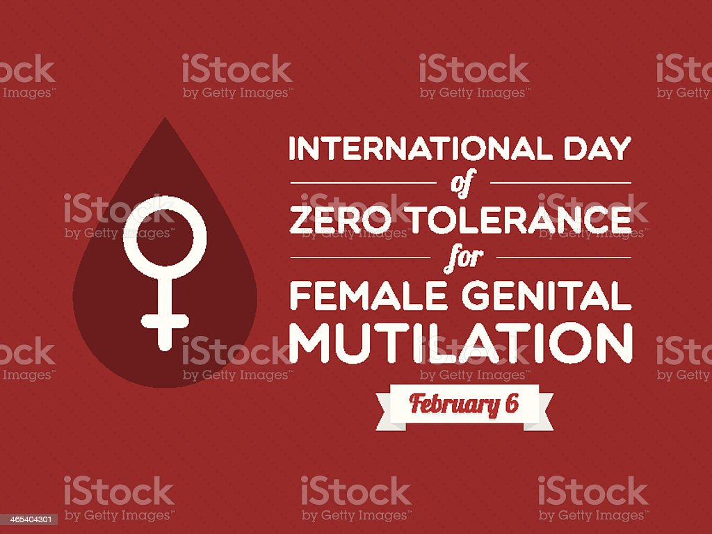 Red flier condemning female genital mutilation royalty-free stock vector art