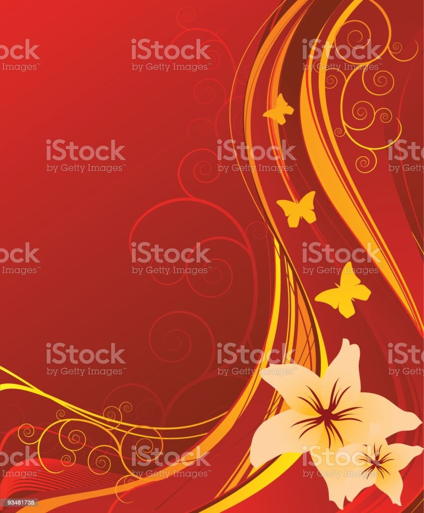 Red floral background royalty-free stock vector art