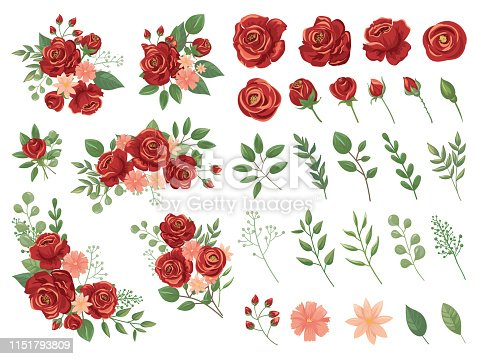 Red floral bouquet. Burgundy rose flower, vintage roses bouquets and spring flowers. Floral rose greenery elegant wedding greeting card. Cartoon vector illustration isolated icons set