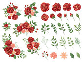 Realistic vector elements set of red roses (petals, leaves, bud and an open flower) with the ability to change the appearance of the flower, as in the constructor