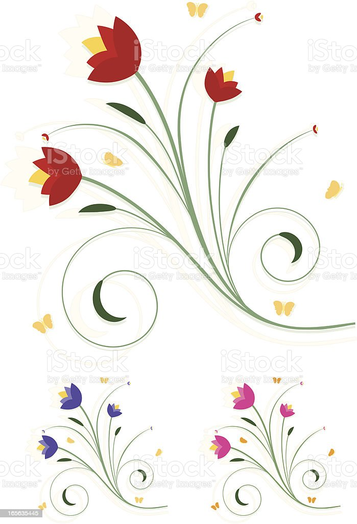 Red Floral Design Element with Butterflies royalty-free stock vector art