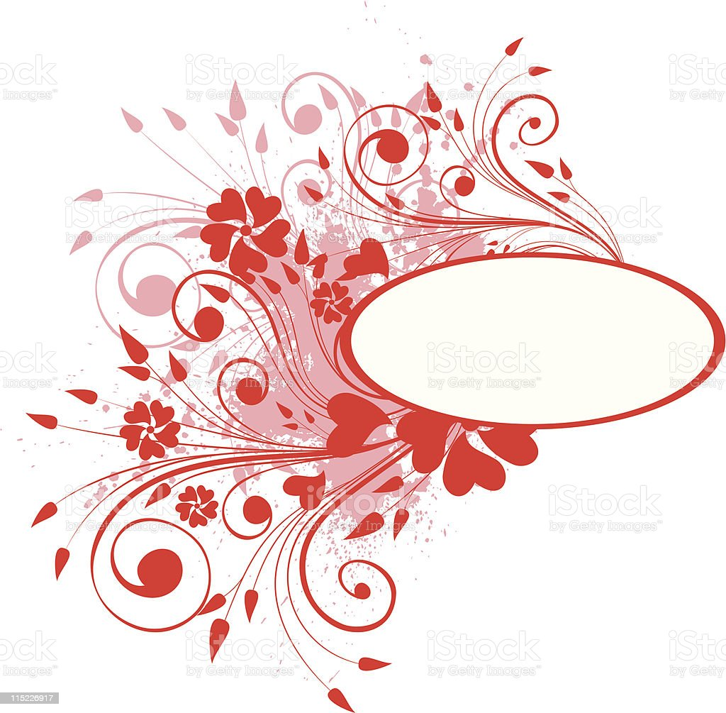 red floral frame royalty-free stock vector art