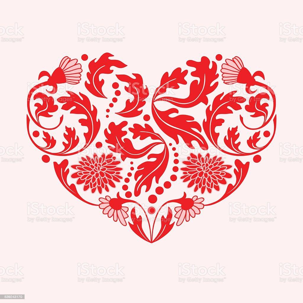 Red Floral Heart on White Background, vector illustration ilustración de red floral heart on white background vector illustration y más banco de imágenes de abstracto libre de derechos