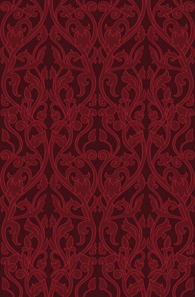 Red floral pattern. Pattern with ornamental flowers. Filigree ornament in red colors. Template for wallpaper, textile, shawl, carpet and any surface. tapestry stock illustrations