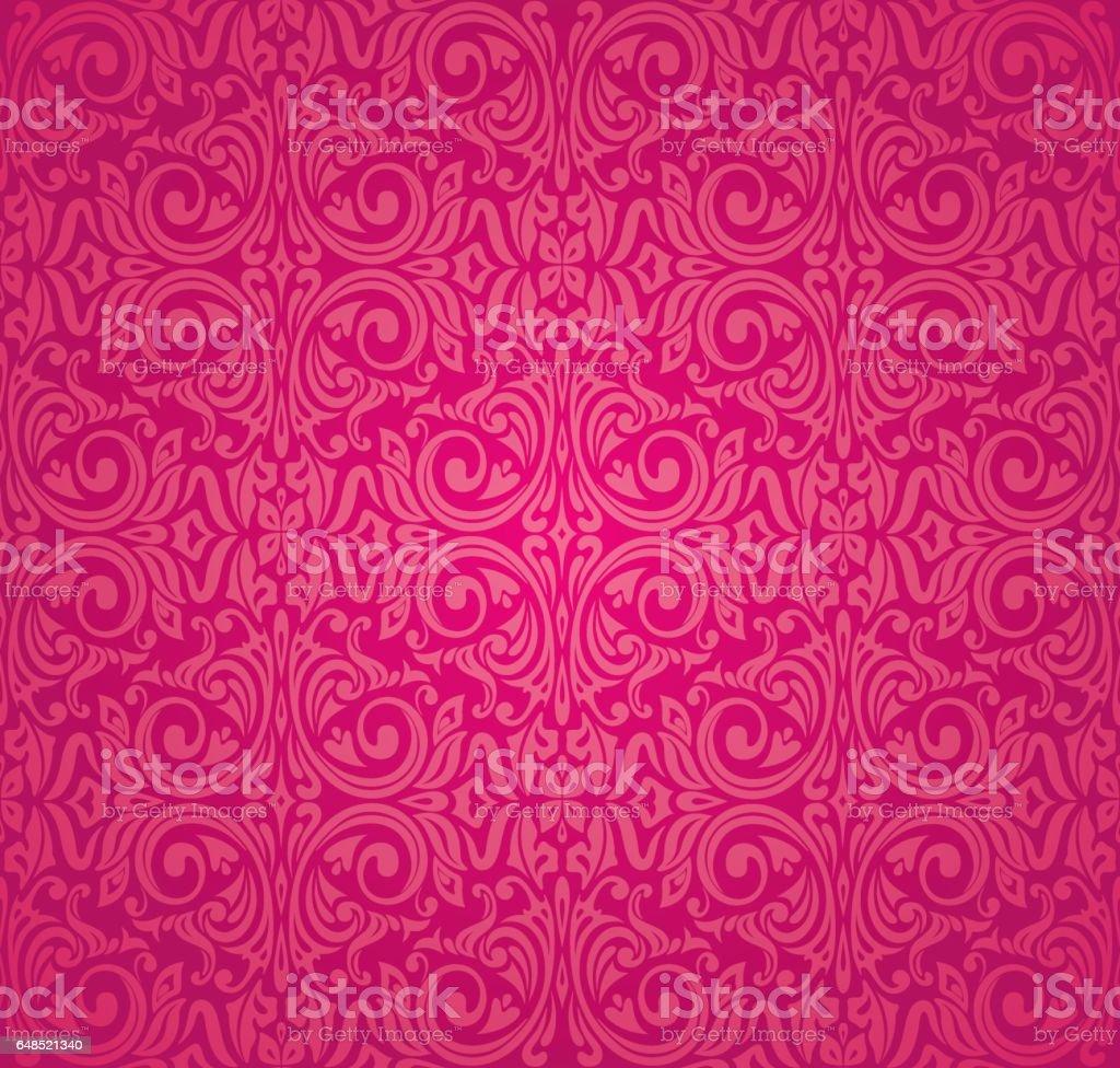 Red floral pattern wallpaper design background vector art illustration