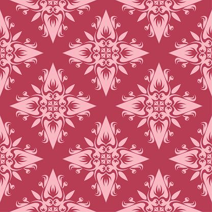 Röd Blommig Sömlös Bakgrund Dekorativa Mönster-vektorgrafik och fler bilder på Abstrakt