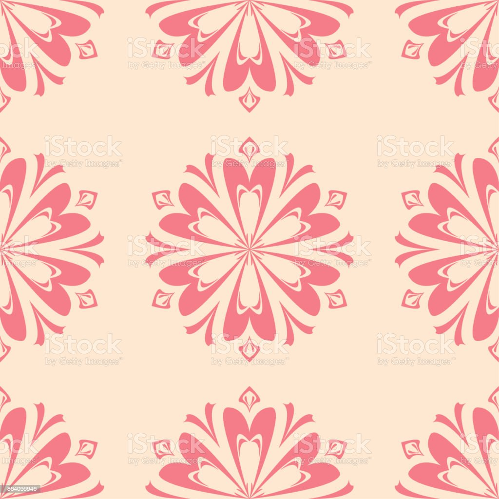 Red floral seamless design on beige background royalty-free red floral seamless design on beige background stock vector art & more images of abstract