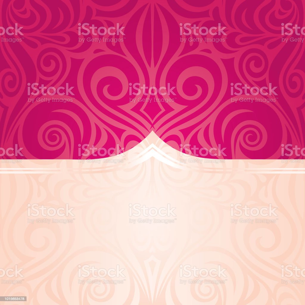 Red Floral Vector Pattern Wallpaper Wedding Background Trendy Fashion Mandala Design With Copy Space Royalty