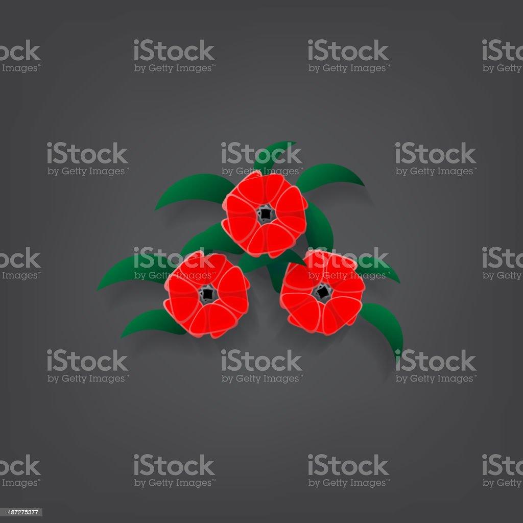 red flower vector art illustration