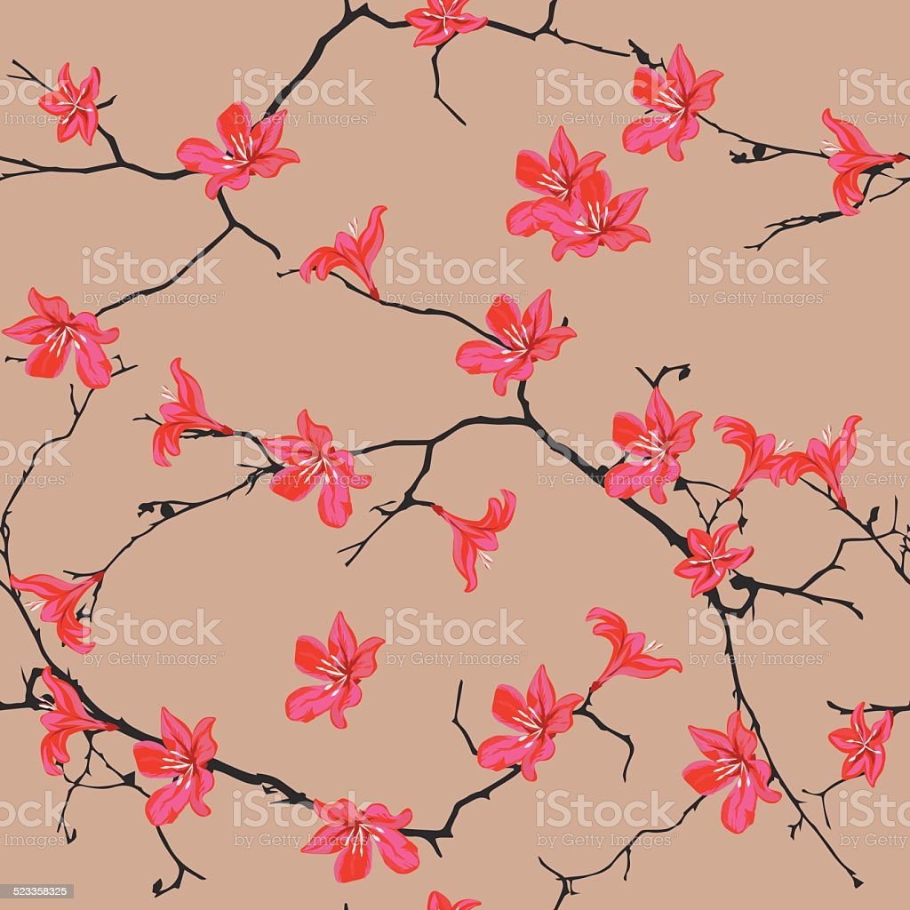Red flowers almond seamless vector pattern vector art illustration
