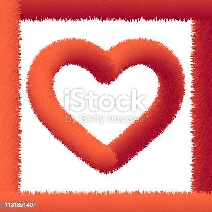 Red fluffy heart shape on white background. Vector illustration