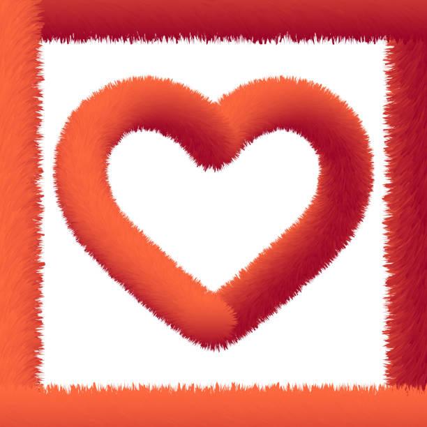 stockillustraties, clipart, cartoons en iconen met rode pluizige hart vorm op witte achtergrond - dierenhaar