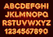 Red fluorescent neon font on dark background.