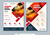 Red Flyer template layout design. Corporate business annual report, catalog, magazine, flyer mockup. Creative modern bright concept with square shapes.