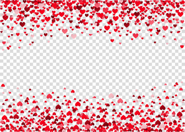 Red flying heart confetti. Red flying heart confetti, Valentines day background.  Design element for romantic love greeting card, Women's Day postcard, wedding invitation. Vector  texture. valentine card stock illustrations