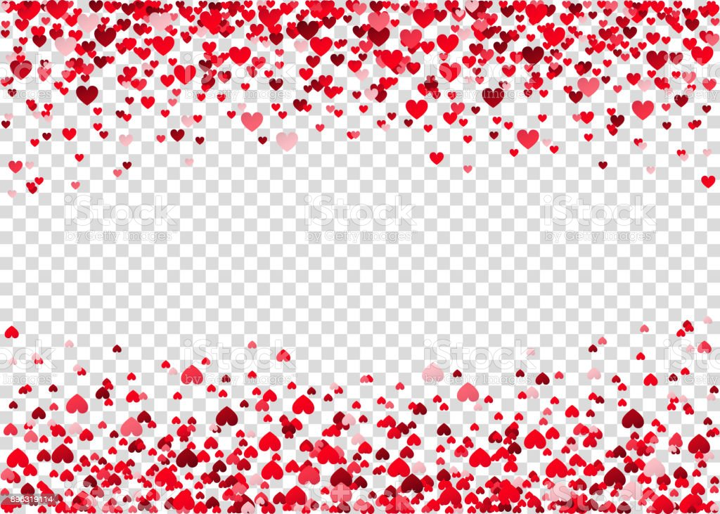 Red flying heart confetti. vector art illustration
