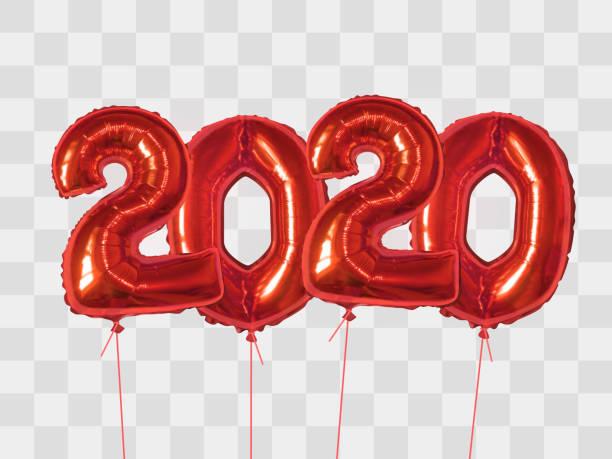 Red foil balloons number 2020 vector art illustration