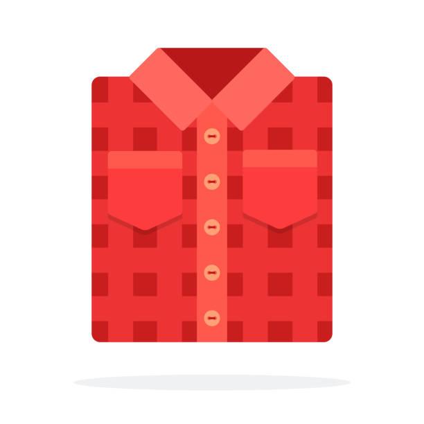 ilustraciones, imágenes clip art, dibujos animados e iconos de stock de rojo camiseta plegada plana aislado - fondos de franela
