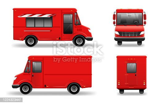 istock Red food truck vector mockup on white for vehicle branding, advertising, corporate identity. transport advertising. 1224323441